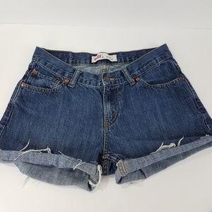 Levis 550 Cut Off Shorts Size 10H Husky Blue Boho